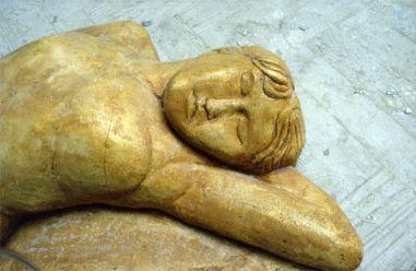 Resting figure - detail 2 (cast stone)