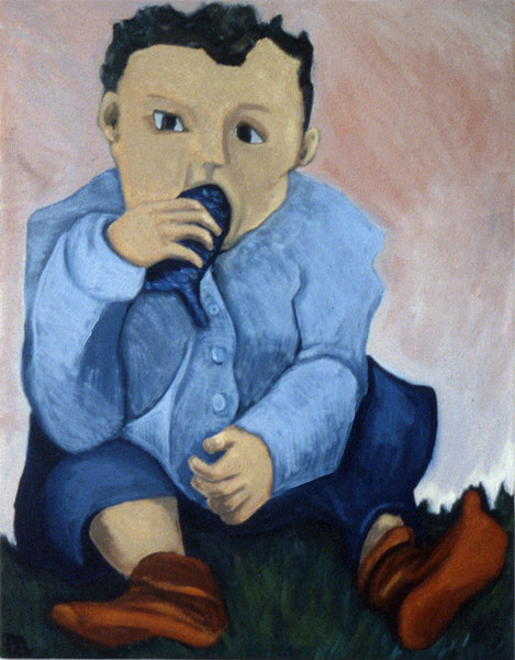 Baby with fish (oil on canvas)