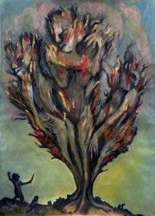 Burning bush (oil 84 x 29cm)