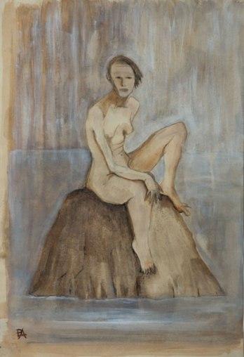 Woman sitting on a rock (acrylic wash)