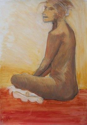 Woman on the beach (acrylic wash)