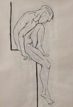 Seated man (acrylic 55 x 31cm)
