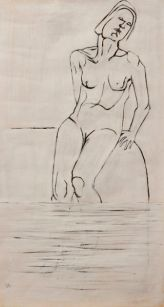 Seated woman (acrylic 56 x 17cm)
