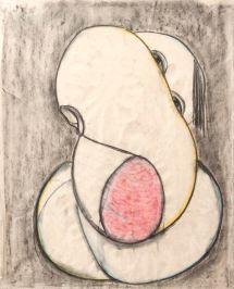 Untitled (charcoal and aqua on paper 57 x 45cm)