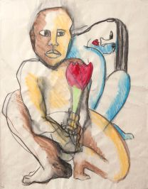 Valentine (charcoal and aqua crayon on paper 57 x 45cm)