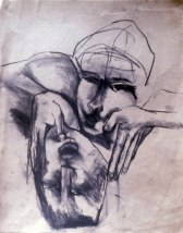 Kissing 1 (charcoal on paper)