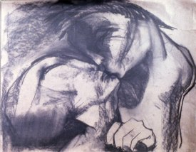Kissing 2 (charcoal on paper)