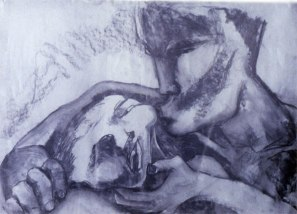 Kissing 3 (charcoal on paper)