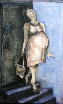 Shopping (pastel on paper)